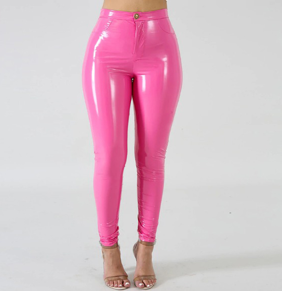 Woman on Mission Leather Pants Chic Lina